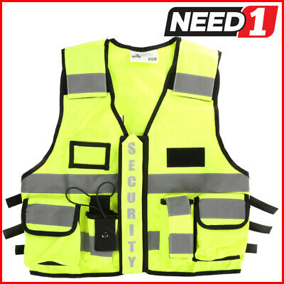 The Ultimate Security Vest Multiple Storage Pockets Expandable Black/HiVis