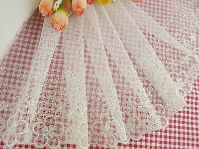 "7.5""*1yard delicate embroidered flower on white tulle lace trim for DIY 0223"