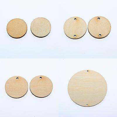 "50pcs 1""(W)1/8""inch WOODEN CIRCLES WITH HOLE UNFINISHED CRAFT FAMILY BIRTHDAY"