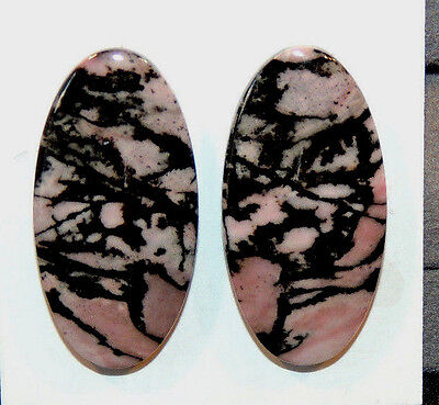Pink Rhodonite Cabochons 30x15mm with 4.5mm dome set of 2 (10236)