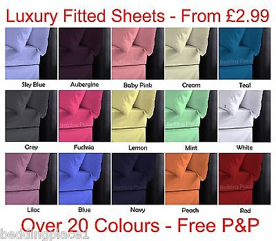 Plain Dyed Fitted Sheet 50/50 Poly-Cotton Bed Sheet Single Double & King Sizes