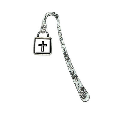 Christian Cross Book Bookmark with Square Antiqued Charm