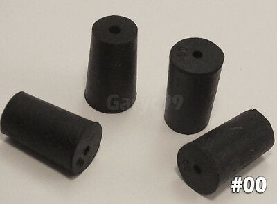 24 #00 Black Natural Rubber Laboratory Stoppers Size 00 1-HOLE STOPPER RS-00H