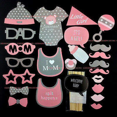24PCS Baby Shower Photo Booth Props Little Lady Girl New Born Party Decoration