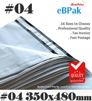 100x Poly Mailer #04 350x480mm Plastic Satchel - Self Sealing Courier Bag PM04