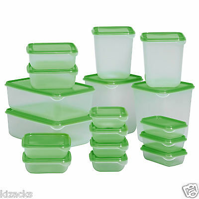IKEA 17 Plastic Food Storage Containers Saver Container for Kitchen Green PRUTA