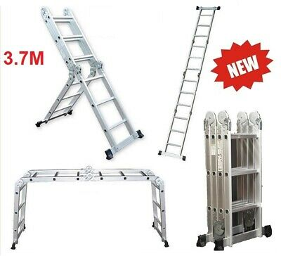 NEW 3.7M Multi Purpose Aluminium Folding Extension Ladder Step Telescopic AUS