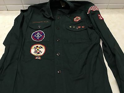 1950's Boy Scout Explorer Green Uniform Shirt W/Patches
