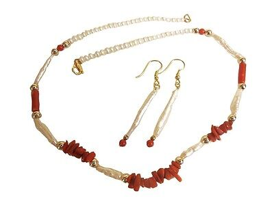 Icicle pearls with Coral. Necklace and earring set. Unusual Freshwater Chinese
