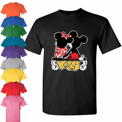 Mickey and Minnie mouse Disney holding T Shirt matching couple loving tank tee