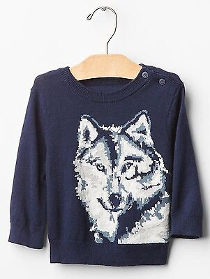 GAP Baby / Toddler Boys Size 18-24 Months Navy Blue Wolf Animal Intarsia Sweater