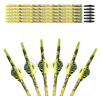 6PK Archery Hunting Traditional Camo Mix Carbon Arrows Screw Tips Spine 500