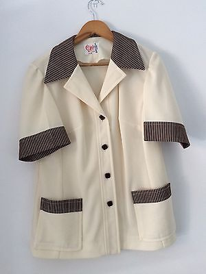 Women's Vintage Retro Rockabilly 1950s 1960s Cream And Brown Bowling Shirt Sz L