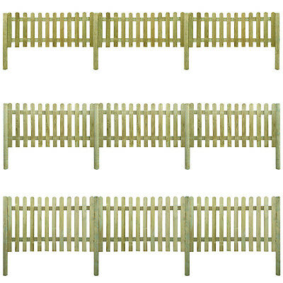 New 6 m Picket Fence with Posts 60cm/80cm/100cm/120cm Selectable High Wood Patio