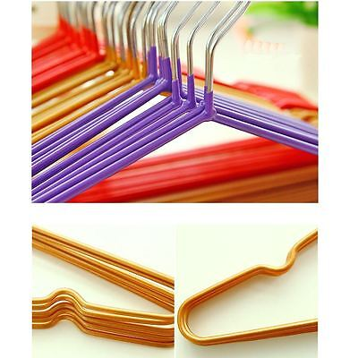 NEW Quality 40cm Coloured Wire Metal Coat Clothes Hangers Thin Trouser Bar Rack