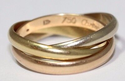 """Small Cartier 18ct Yellow White and Rose Gold """"Trinity De Cartier"""" Size 50"""