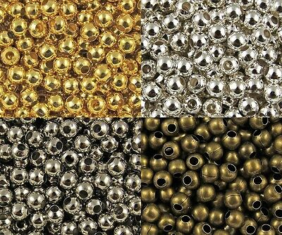Wholesale Lot Silver Metal Round Spacer Beads Jewelry Craft 2mm 3mm 4mm 5mm 6mm