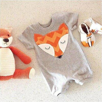 Newborn Kids Baby Boy Girl Cotton Clothes Fox Romper Jumpsuit Bodysuit Outfits