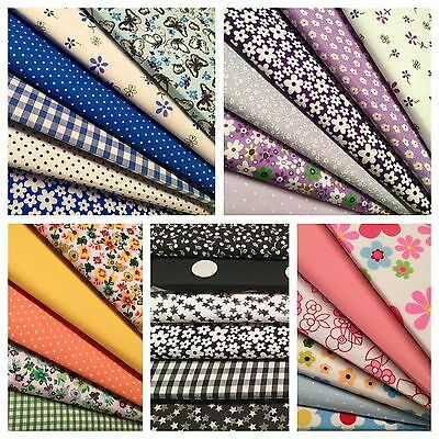 Fat Quarters Fabric Bundles Floral Roses Vintage Shabby Chic Craft Bunting Sew