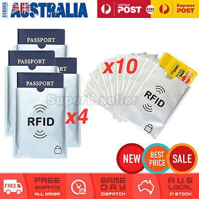 4x Passport & 10x RFID Blocking ID Credit Card Protector Sleeve Shield Holder AU