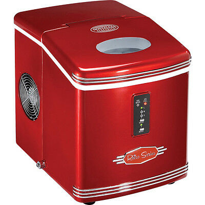 Red Portable Ice Maker, Compact Ice Machine ~ Countertop Cube Icemaker RIC-100