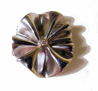 Ruffle Clip Enhancer for Pearls or Cords. Sterling with 18K diamond center dot.