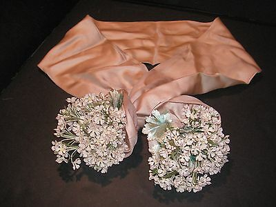 1920s Silk Scarf w/Flower Sprays Attached to Ends
