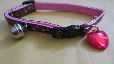 collier chat POIS CHOCO ROSE +GRELOT+MEDAILLE anti étranglement