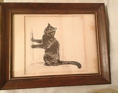 Vintage Framed Black Cat Sketch - Jane Hudgins