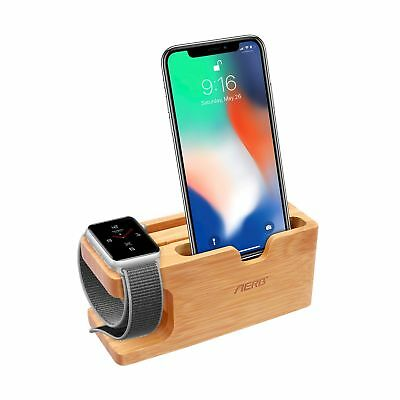 Apple Watch Stand, Aerb Bamboo Wood Charging Stand Bracket Docking Station Cr...
