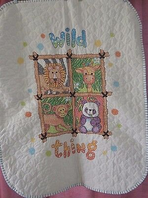"""Handmade Cross Stitch Baby Boy / Girl Quilt """"Wild Thing"""" FINISHED Shower Gift"""