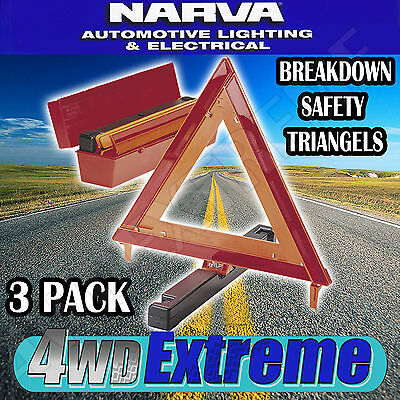 Narva 3 Pack Of Breakdown Safety Warning Reflective Triangle Set Truck 84200
