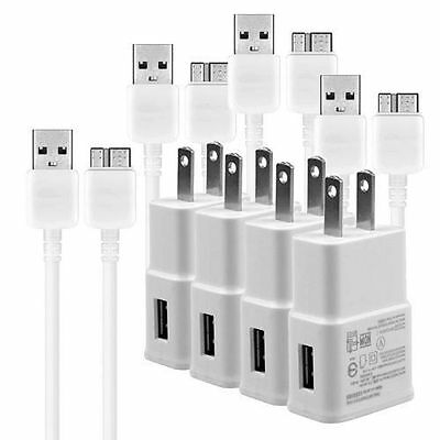 4x 5 V 2 Amp USB Charger Adapter + Cable Cord Sets for Samsung Galaxy S5 Note 3