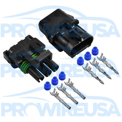 Delphi Weather Pack 3 Pin Sealed Connector Kit 12-10 GA