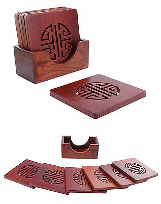 6pkt of Wooden Drink Coasters Coffee Tea Cup Mat Set+Box Holder Rosewood Carved