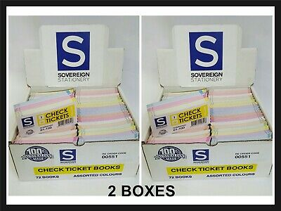 Sovereign Raffle Ticket Check Ticket 1-100 Book  - 2 X Boxes 72 Pack