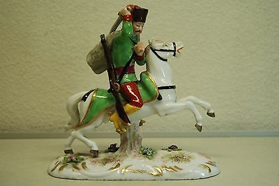 Antique Old Porcelain Figurine Meissen Dresden  German Austrian Military Soldier