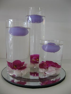 Glass Floating Candle Holder set/Wedding Centrepiece with Mirrored Base - Purple