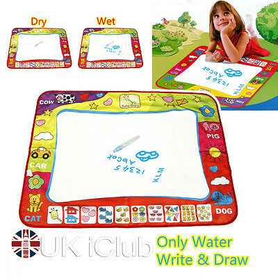 80X60cm Water Writing Drawing Painting Mat Board 2 Magic Pens Aquadoodle Kid Toy