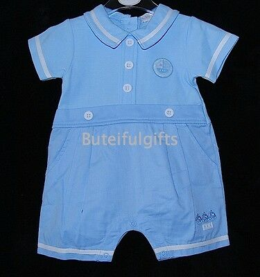 Baby Boys Traditional Blue Summer Cotton Romper 0-3 Month