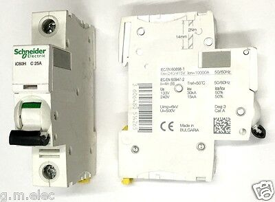 SCHNEIDER ACTI9 iC60H 25 AMP TYPE C 25A SINGLE POLE PHASE BREAKER MCB A9F54125