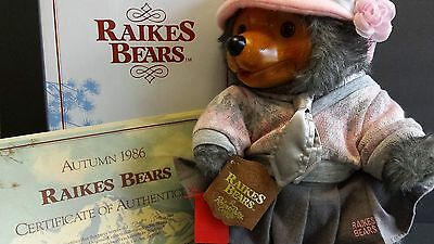 RAIKES  Daisy Glamour Teddy Bears 1920's w/ Box COA Vintage 1986 5468 Applause