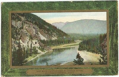 Kalispell, MT Montana 1910 Postcard Bad Rock Canyon, Flathead River