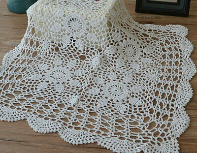 "23"" Square White Hand Crochet Lace Doily Victorian Floral Table Cloth Topper"