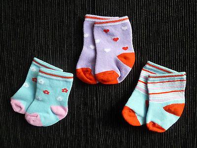 Baby clothes GIRL newborn 0-1m 3 pairs socks blue,pink,red, mauve SEE SHOP!