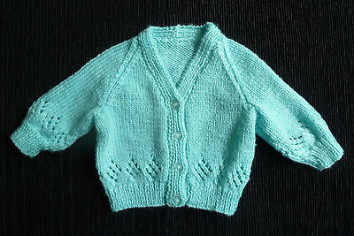Baby clothes UNISEX BOY GIRL 0-3m NEW! aqua soft hand-knitted cardigan SEE SHOP!