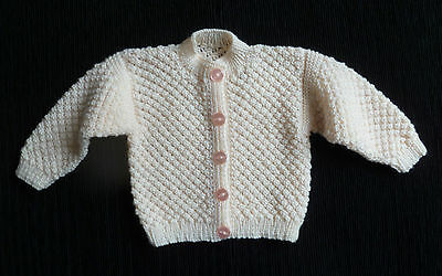 Baby clothes GIRL 0-3m professionally hand-knit peach pattern cardigan SEE SHOP!