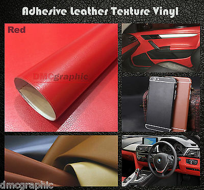 30x152cm Red Leather Texture Adhesive Vinyl Wrap Film Sticker For Cars Furniture