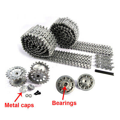 MATO MT001 Tiger 1 metal tracks & wheels with bearings Silver FIT Heng Long UK