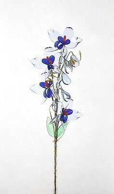 Blue Orchid Crystal Glass Flower In Vase Perfect Gift - Any Occasion Celebration